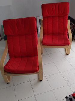 Two Red IKEA Poang Chairs for Sale in Kirkland,  WA