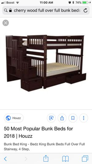 Cherry wood twin over full bunk bed with stairs and drawers for Sale in Portland, OR