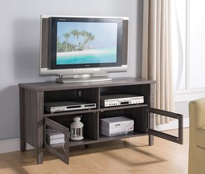 Melina 2 Glass Door TV Stand up to 55in TVs, Distressed Grey for Sale in Santa Ana, CA