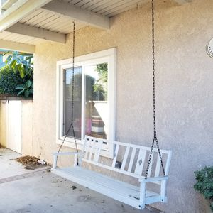 White Wood Hanging Porch Swing for Sale in Huntington Beach, CA