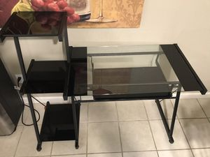 Glass desk w/keyboard slide out and 3 tiers on side for Sale in Kingsburg, CA