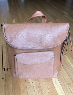Girl's Brown Foldable Leather Backpack/Handbag with Zipper on the top for Sale in Los Angeles, CA