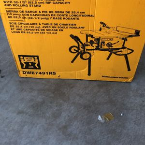 Dewalt 10 Inch Job Site Table Saw With Rolling Stand for Sale in Goodyear, AZ