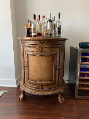 Antique bar with leather map of world for Sale in Miami, FL
