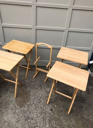 Folding TV tables storage butcher block for Sale in Woodway, WA