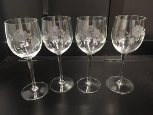 Beautiful floral etched wine glasses for Sale in Portsmouth, VA