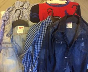 Two long sleeve polo shirts for school age size boy only size 6 & size 7 plus two long sleeve Levi's denim shirts both are size 7 / one nautical lon for Sale in Baltimore, MD