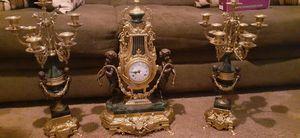 VINTAGE Imperial Brevettato Brass and Emerald green Marble Franz Hermle Mantle Clock w/ Candelabra Set. for Sale in Detroit, MI