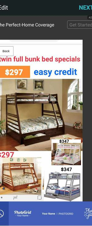 BRAND NEW TWIN FULL BUNK BED ADD MATTRESS TWIN AND FULL ADD FURNITURE AVAILABLE LITERA INDIVIDUAL MATRIMONIAL 3S for Sale in Pomona, CA