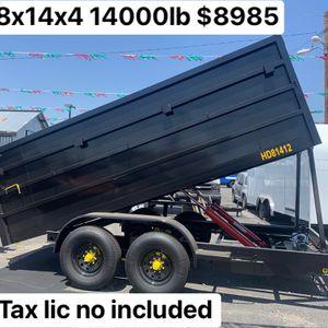 New Dump 8x14x4 14000lb Gvw $8985+ Tax Lic for Sale in Riverside, CA