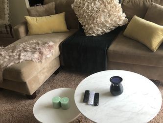 Small Beige Sectional & Brown Barrel Chairs for Sale in Berwyn Heights,  MD