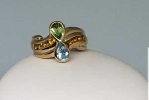 10k gold Peridot, Aquamarine and Citrine infinity ring for Sale in Canton, NC