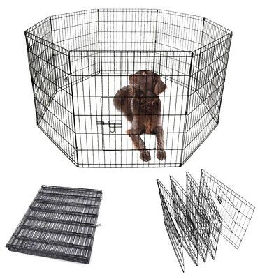 New in box 30 inch tall x 24 inches wide each panel x 8 panels steel wire exercise playpen 16 feet long fence safety gate dog cage crate kennel expan