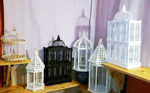 Victorian Bird Cage/Houses Crafted w/Wood & Ornate Metal 6 Sizes Available for Sale in Fort Lauderdale, FL