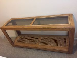 Sofa table / console table wood, glass insert & rattan insert for Sale in Las Vegas, NV