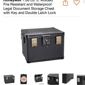 Honeywell 1.06 cu. ft. Molded Fire Resistant and Waterproof Legal Document Storage Chest with Key and Double Latch Lock brand new $150 regular $182 for Sale in Apple Valley, CA