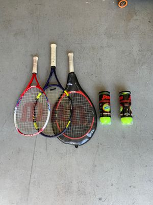 Tennis rackets with two sleeves of unopened tennis balls for Sale in Tampa, FL