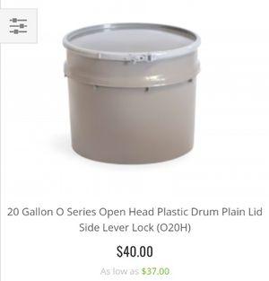 20 Gallon O Series Open Head Plastic Drum Plain Lid Side lever lock for Sale in Muscoy, CA