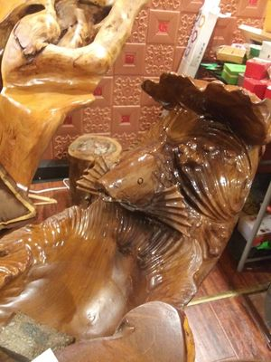 Hand carved wood fountain with fish head for Sale in Las Vegas, NV