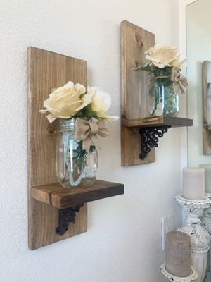 Farmhouse Style Wall Shelves with Mason Jars for Sale in Bay Point, CA