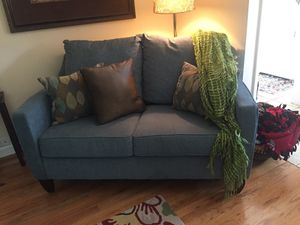 Adorable corduroy material blue couch for sale! Less than three years old! From a smoke free home, and small dog that did not shed! Small stain on bo for Sale in Murray, UT