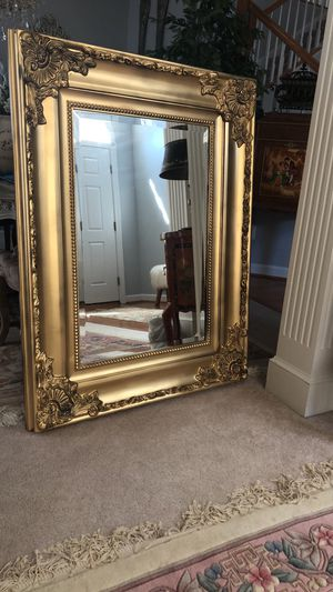"""SERIOUS INQUIRIES PLEASE ""49""X37"" Large Gold Antique Style Wooden Mirror for Sale in Bristow, VA"