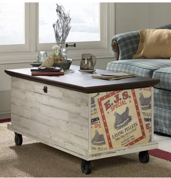 Rustic Coffee Table Storage Wood Chest Trunk Vintage Box Bench Aged White
