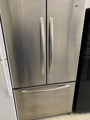 Amana french door stainless steel refrigerator & Whirlpool stainless steel gas stove set for Sale in Chicago, IL