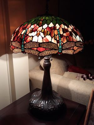 Tiffany Antique stained glass lamp, dragonflies for Sale in Los Angeles, CA