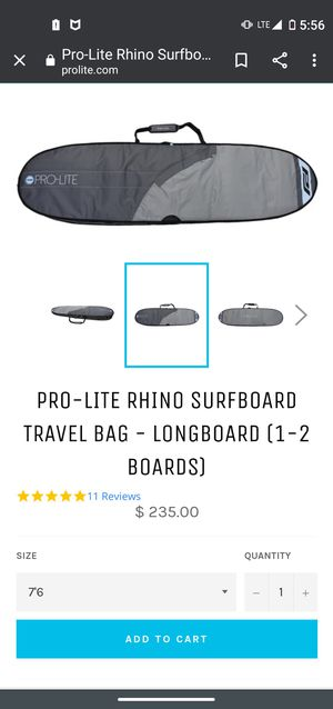Pro lite surfboard bag for Sale in San Diego, CA