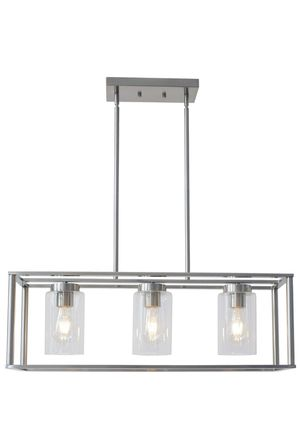 Vinluz 3-light brushed nickel chandelier contemporary modern dining room light fixture hanging with clear glass shades farmhouse gauge linear pendant for Sale in San Dimas, CA