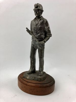 "10"" Tall vintage solid pewter (5 lbs) sculpture of miner on wood base - collectible statue for Sale in Palm Beach Gardens, FL"