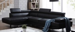 Black Leather Sectional Couch (Left Facing) for Sale in McLean, VA