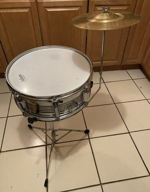 Snare drum with cymbal and stand for Sale in Peabody, MA