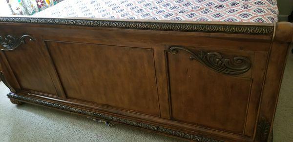 Elegant king size bed frame and 2 nightstands