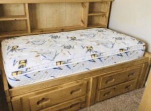 Wooden twin bed and mattress, bookshelves bed with storage dresser for Sale in Riverside, CA