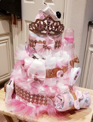 NEW ROSE GOLD & PINK DIAPER CAKE for Sale in Lavon, TX