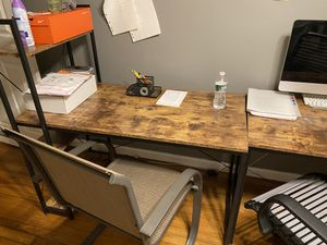 """2 desks with shelves that join together """"optional"""" 1 corner desk 1 table double benches slide under perfect for reading blueprints or for breakfast for Sale in The Bronx, NY"""
