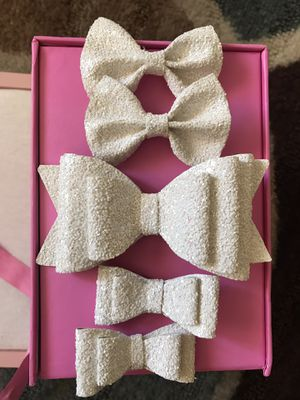 White glitter leather faux bow for girls for Sale in Placentia, CA