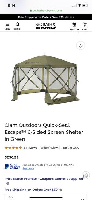 Clam Quickset Canopy/Tent for Sale in Trinity, NC