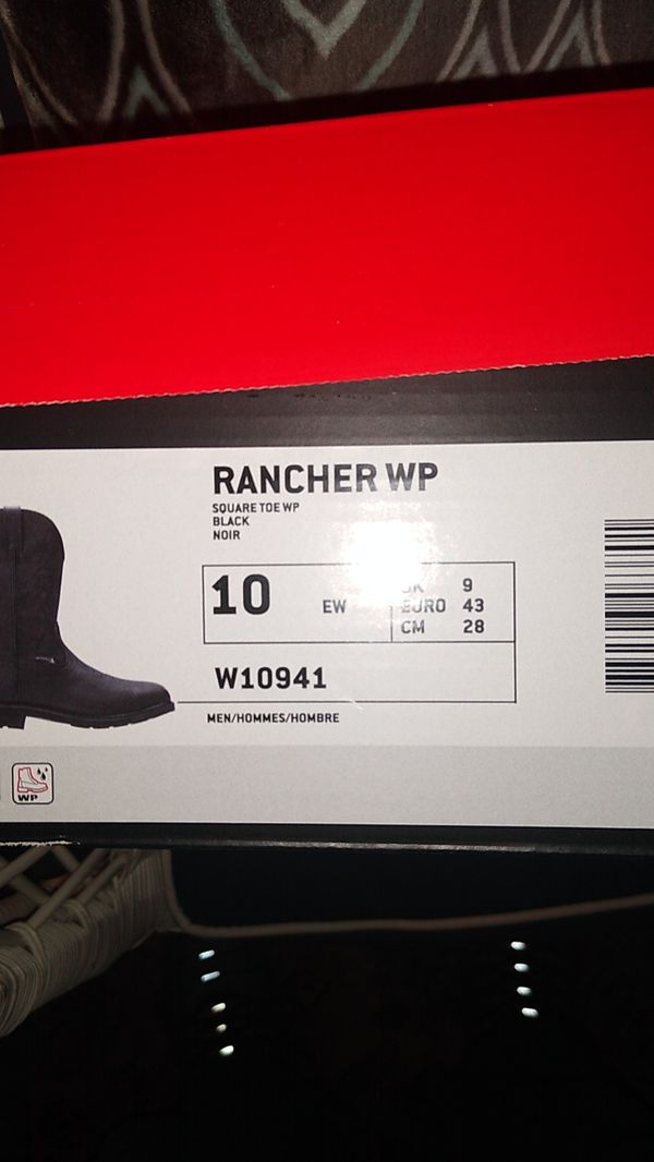 Wolverine rancher work boots square toe black size 10 men extra wide