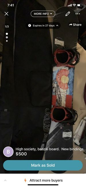 High society snowboard, new bindings, burton Bag all new for Sale in Colorado Springs, CO