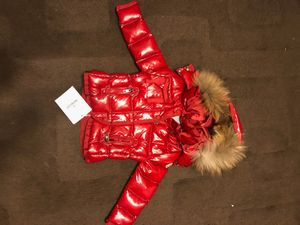 Moncler red shine gloss jacket coat toddler kids 1 to 2 years old fur for Sale in San Francisco, CA