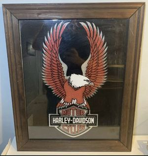 "Vintage Harley Davidson Wall Mirror w/ Eagle 23"" x 19"" Man Cave Bar Garage Decor $100 for Sale in Landover, MD"