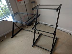 Glass Computer desk with bookcase for Sale in Washington, DC