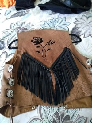 Tan rose fringe vest for Sale in Oakland, CA