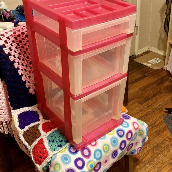 3-door Rolling Hot Pink Craft Storage