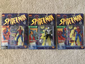 1994 Toy Biz Spider-Man figures (Web Shooter, Super Web Shield & Super Poseable) for Sale in Union City, CA