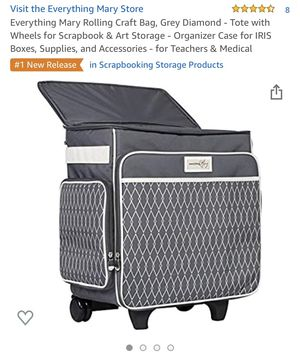 Everything Mary Rolling Craft Bag, Grey Diamond - Tote with Wheels for Scrapbook & Art Storage - Organizer Case for IRIS Boxes, Supplies, and Accesso for Sale in Chicago, IL