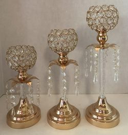 🙋♀️ 3 Pc Gold and Crystal Candle Holders for Sale in Pembroke Pines,  FL